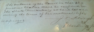 Sentence in the judge's handwriting