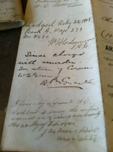 Notes on the back of the warrant