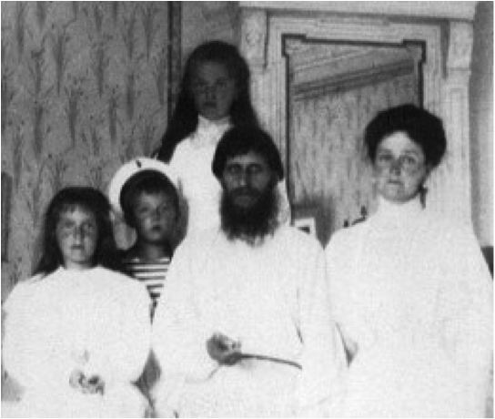 Rasputin with Alexandra and her family