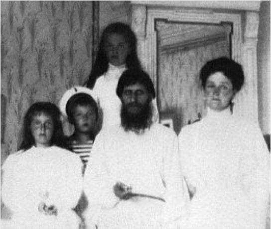 Rasputin with Alexandra and her family