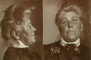 Lizzie Smith, age 54, of Woodville, Mich., was arrested February 28, 1908 for passing counterfeit money