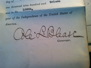 Governor Cole Blease's signature on Charley Hall's parole document