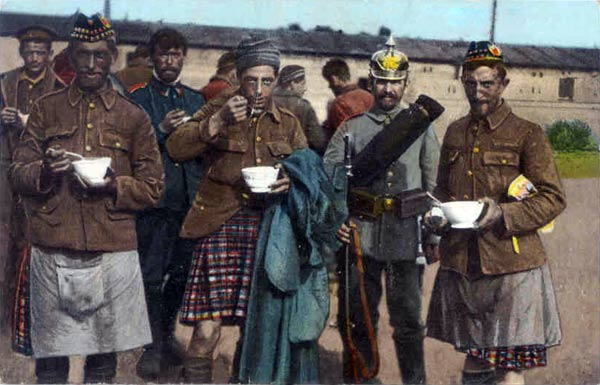Even prisoners of war have to eat - these Scottish prisoners are eating soup