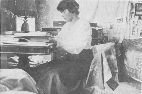 Anastasia Romanov at her desk.