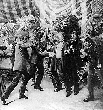 A sketch of McKinley's assassination