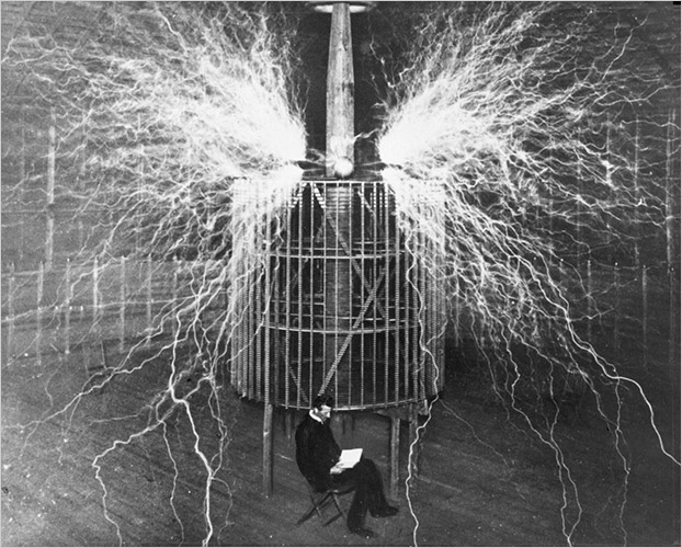Nikola Tesla in his lab