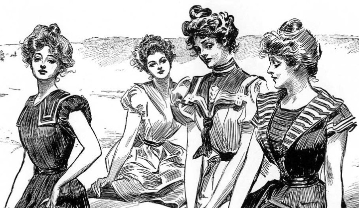 Gibson Girls flock together by the sea