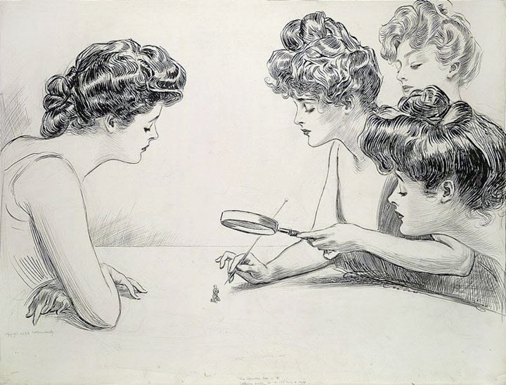 Gibson Girls examine a man under a magnifying glass in an illustration called the Weaker Sex