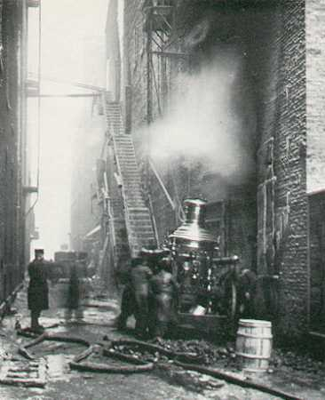 The scene outside in back during the fire