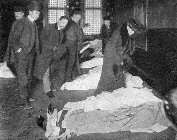 A woman searches for her children at the morgue