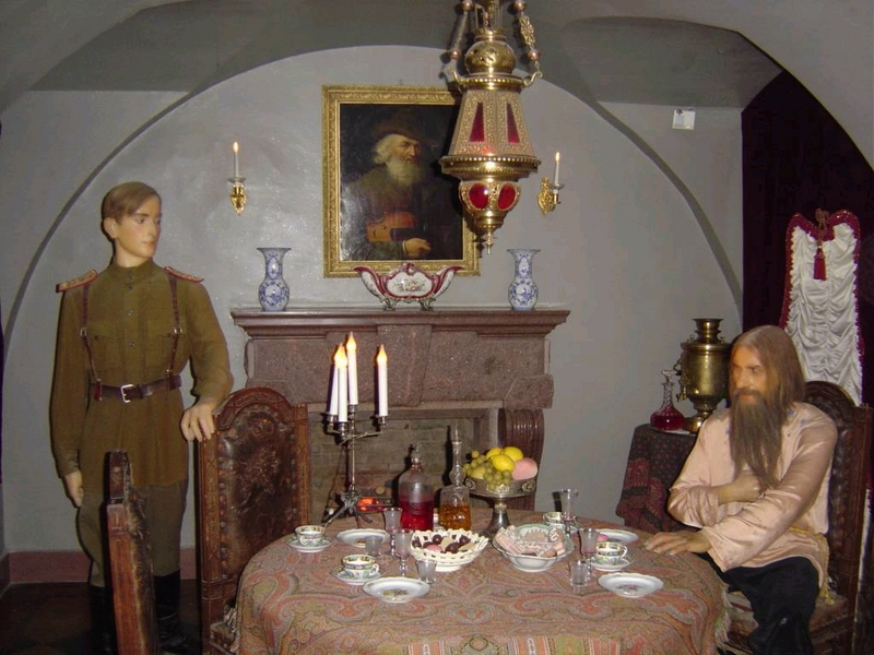 A wax museum exhibit, portraying Rasputin in the wine cellar