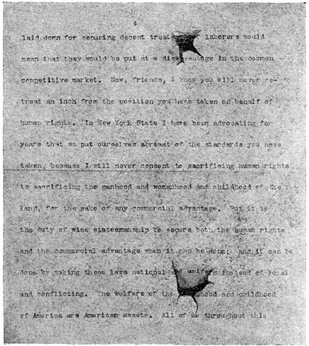 Roosevelt's speech, with bullet holes