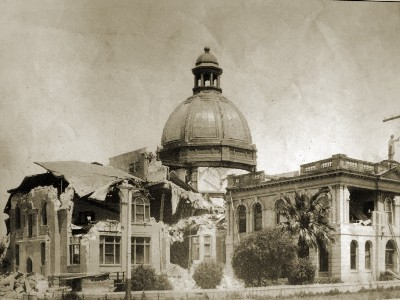 The dome rests, intact, on the ruins of the courthouse