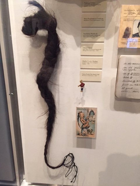 A long ponytail was traditional for many Chinese males. Some men, upon moving to the US, cut their hair in a symbolic gesture. This ponytail is just as the owner left it