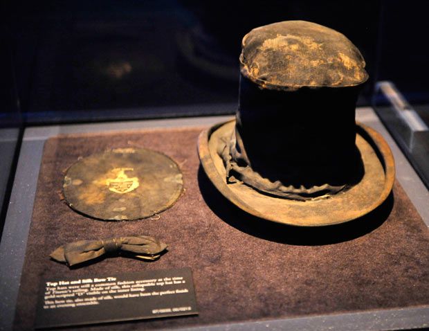 Top hat and bow tie, rescued from the Titanic wreckage Photo from telegraph.co.uk