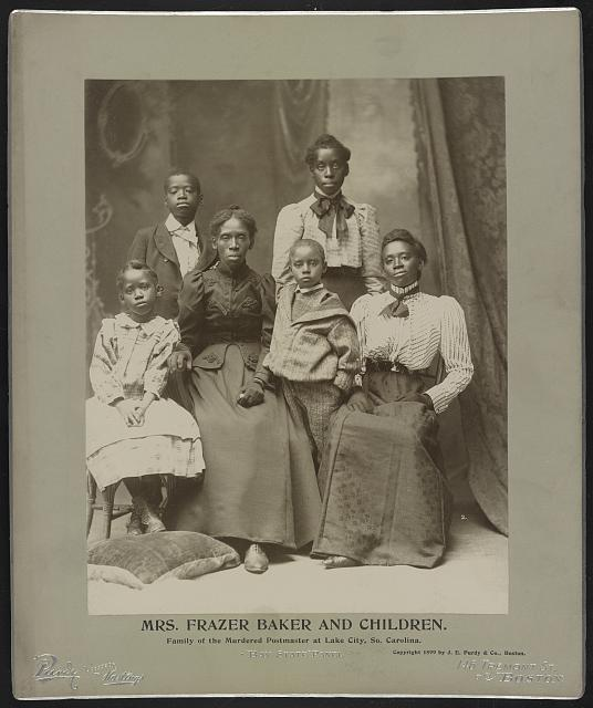 Mrs. Frazer Baker and her children, family of the murdered postmaster at Lake City, SC, circa 1900 LOC - Reproduction Number- LC-DIG-ppmsca-31558
